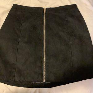 H&M black suede skirt